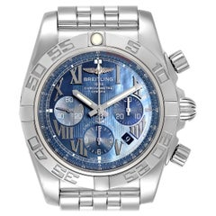 Breitling Chronomat 01 Blue MOP Dial Steel Men's Watch AB0110 Box Papers