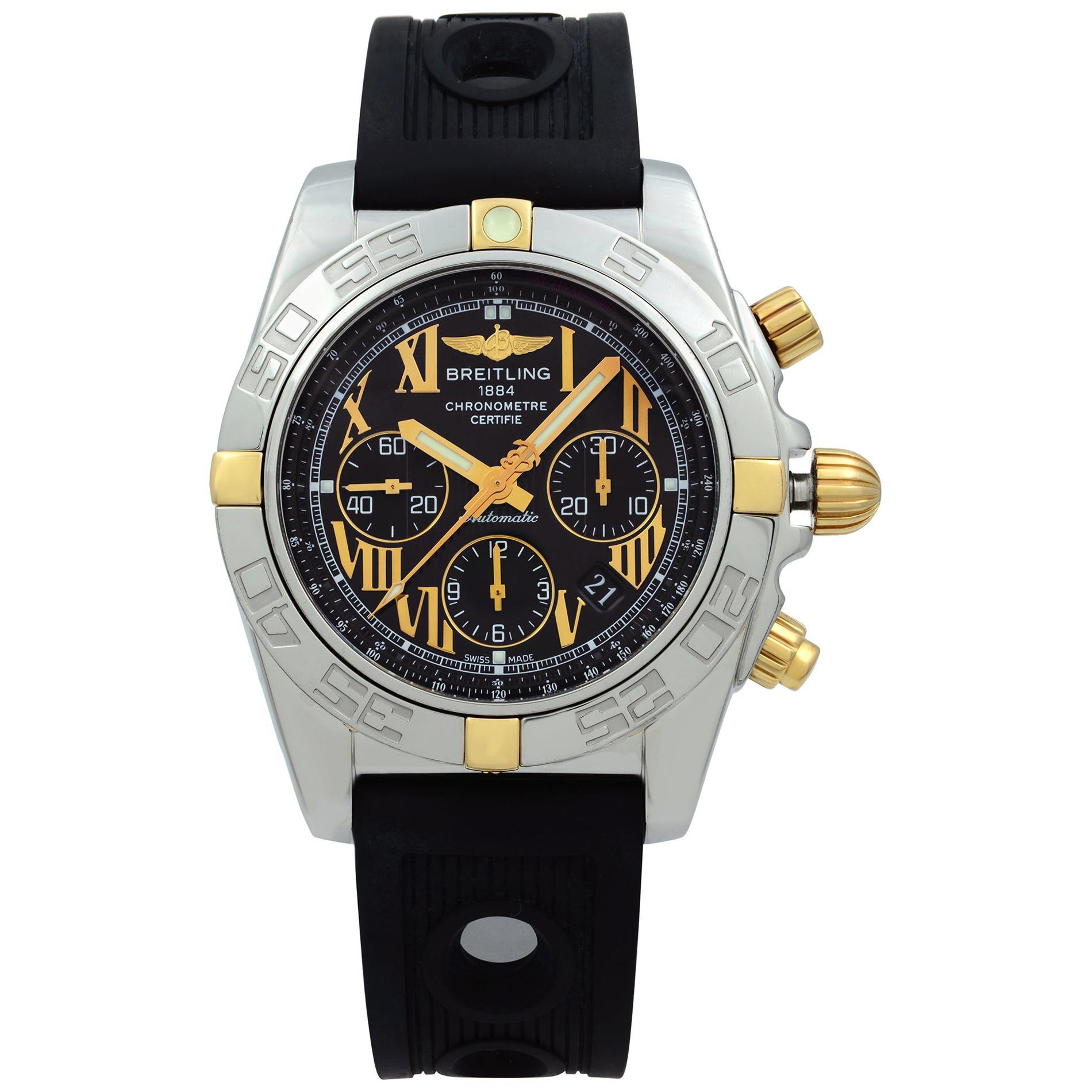 Breitling Chronomat 18 Karat Yellow Gold Steel Black Dial Automatic Watch IB0110