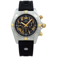 Breitling Chronomat 18 Karat Yellow Gold Steel Black Dial Automatic Watch IB0110