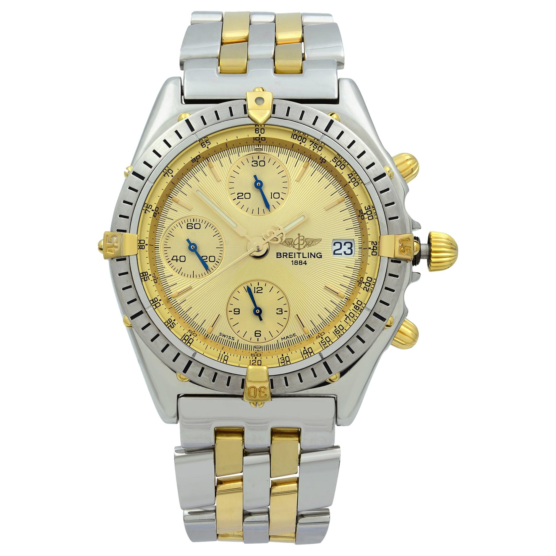 Breitling Chronomat 18K Yellow Gold Steel Gold Dial Automatic Men's Watch B13048