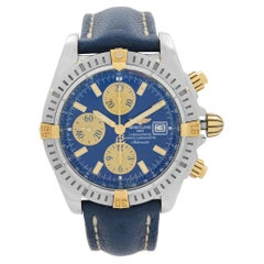 Breitling Chronomat Steel 18K Gold Blue Dial Mens Automatic Watch B1335611
