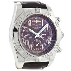 Breitling Chronomat AB0110 Brown Dial Automatic Leather Strap Watch