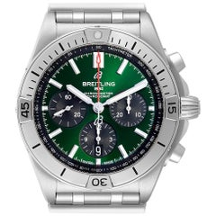 Breitling Chronomat B01 Green Dial Steel Men's Watch AB0134 Box Papers