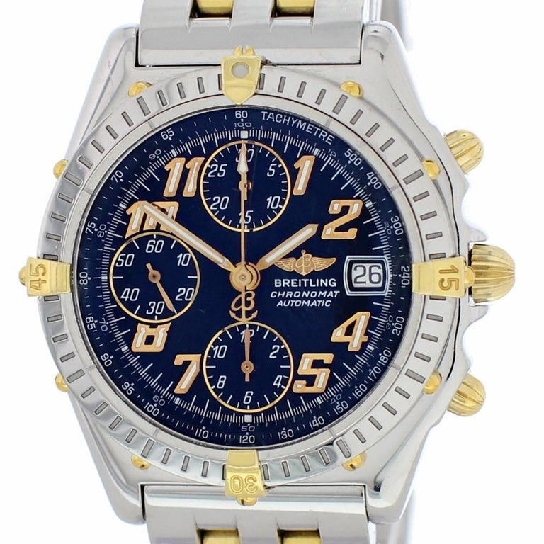 Breitling Chronomat B13050 With Band Stainless Steel Bezel And Blue Dial