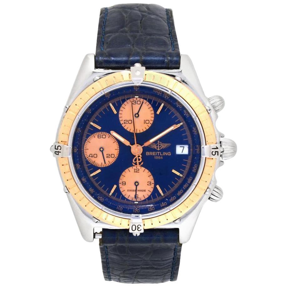 Breitling Chronomat C13047 Men's Automatic Watch 18 Karat Yellow gold Blue Dial