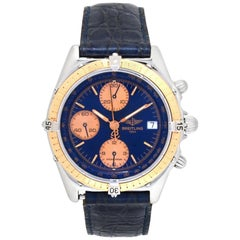 Breitling Chronomat C13047 Men's Automatic Watch 18 Karat Yellow gold Blue Dial