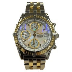 Breitling Chronomat D13350 Mother of Pearl 18 Karat Yellow Gold Stainless Steel