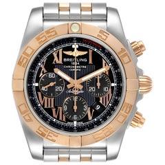 Breitling Chronomat Evolution Black Dial Steel Rose Gold Men's Watch CB0110