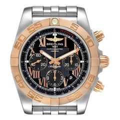 Breitling Chronomat Evolution Black Dial Steel Rose Gold Men's Watch CB0110