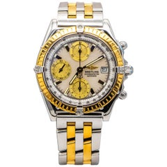 Breitling Chronomat Evolution Stainless Steel Yellow Gold Watch MOP Dial