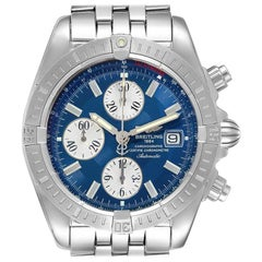 Breitling Chronomat Evolution Steel Blue Dial Steel Men's Watch A13356 Box