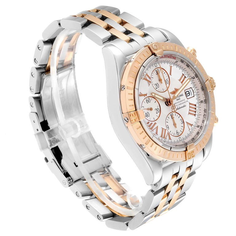 Breitling Chronomat Evolution Steel Rose Gold Men's Watch C13356 Box Papers In Excellent Condition For Sale In Atlanta, GA