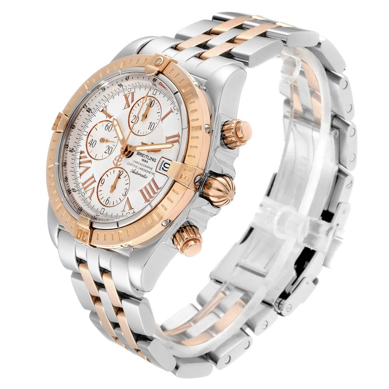 Breitling Chronomat Evolution Steel Rose Gold Men's Watch C13356 Box Papers For Sale 1