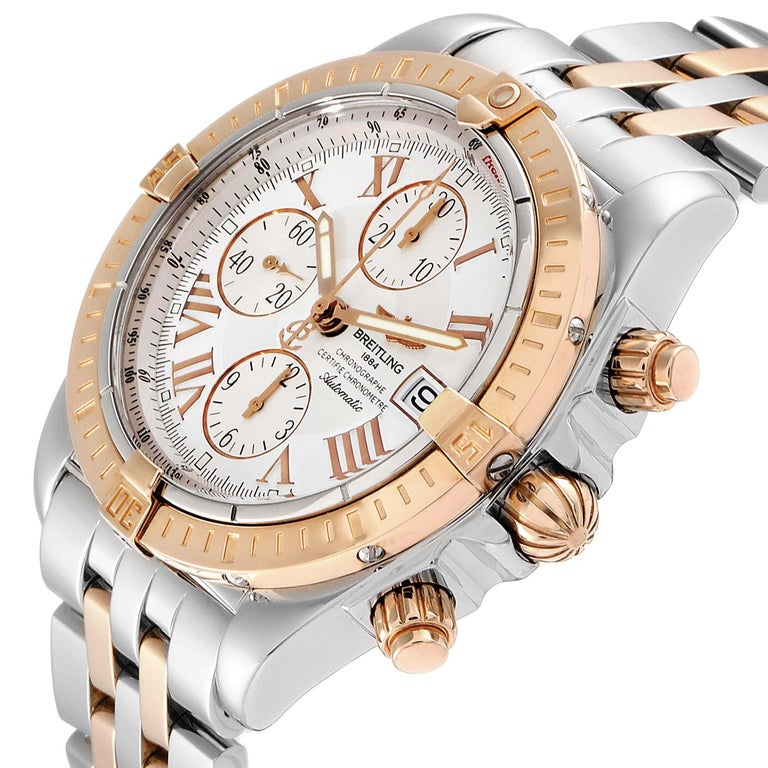 Breitling Chronomat Evolution Steel Rose Gold Men's Watch C13356 Box Papers For Sale 2