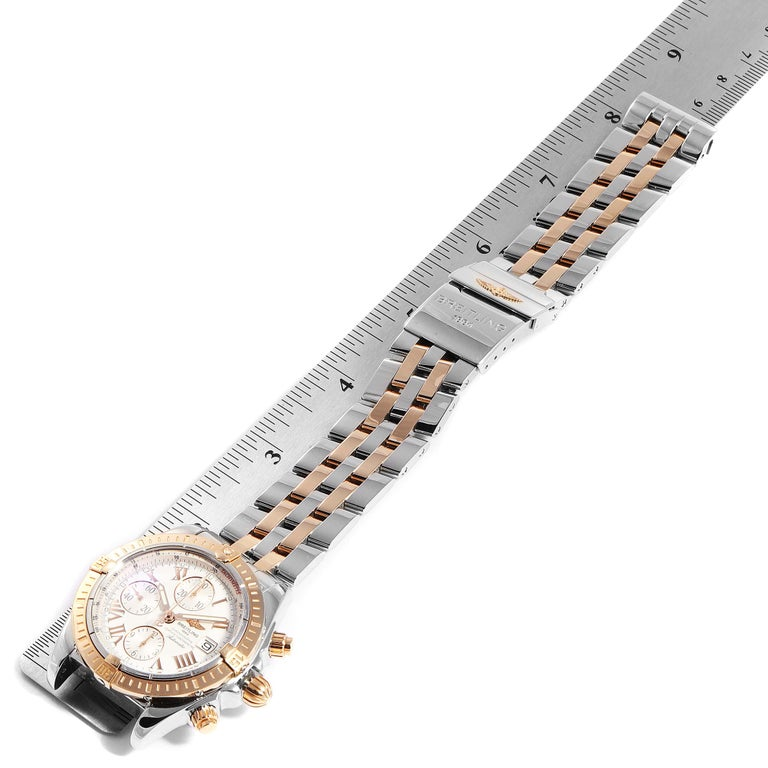 Breitling Chronomat Evolution Steel Rose Gold Men's Watch C13356 Box Papers For Sale 6