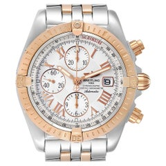 Breitling Chronomat Evolution Steel Rose Gold Men's Watch C13356 Box Papers