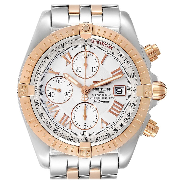 Breitling Chronomat Evolution Steel Rose Gold Men's Watch C13356 Box Papers For Sale