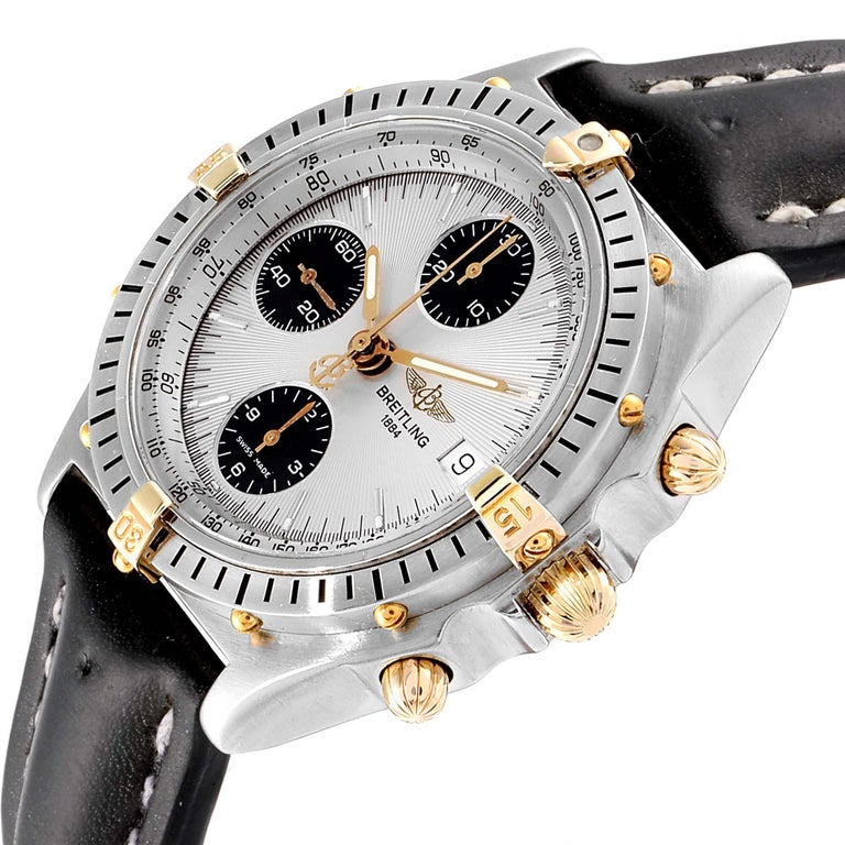 Breitling Chronomat Silver Dial Steel Yellow Gold Men's Watch B13050 For Sale 2