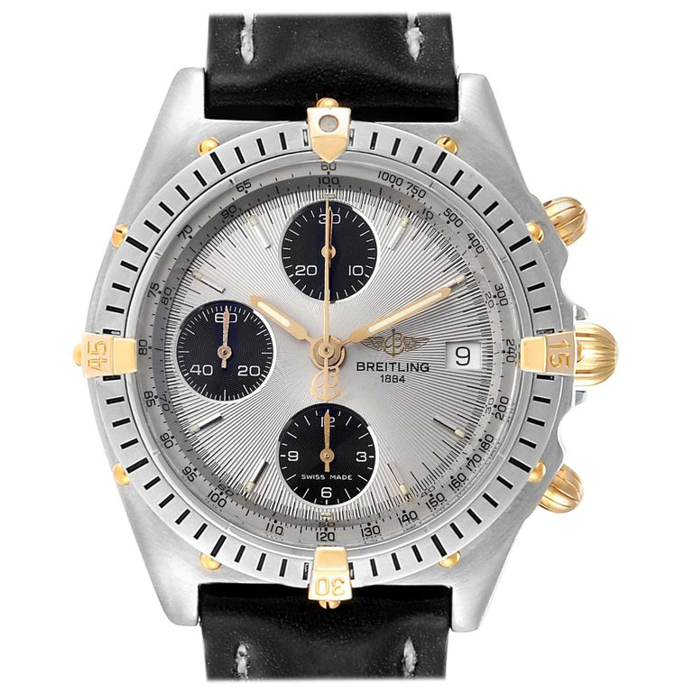 Breitling Chronomat Silver Dial Steel Yellow Gold Men's Watch B13050 For Sale