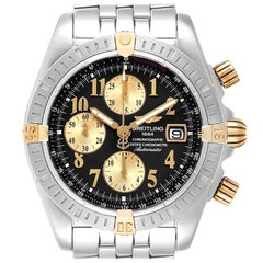 Breitling Chronomat Steel 18 Karat Yellow Gold Black Dial Men's Watch B13356