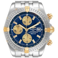 Breitling Chronomat Steel 18 Karat Yellow Gold Blue Dial Men's Watch B13356