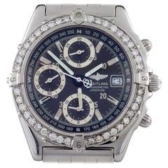 Breitling Chronometre Longitude SS Automatic Men's Watch A20348 w/ Diamond Bezel