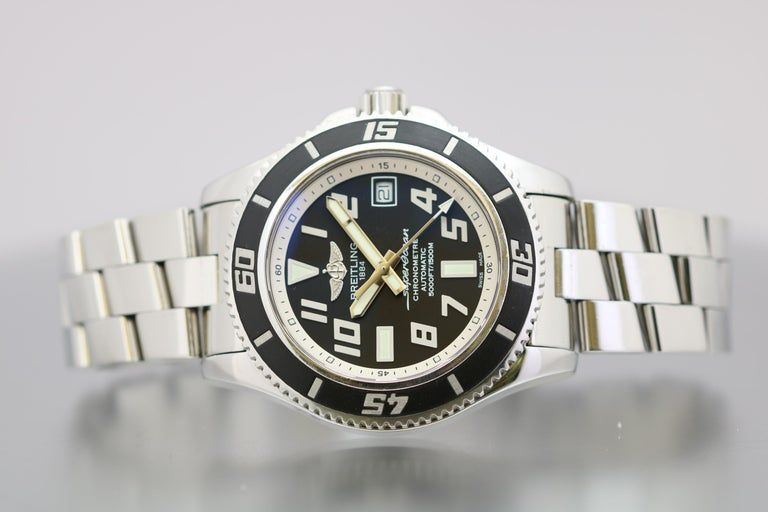 Model Number: A17364  Model: Superocean 42 Abyss  Material: Stainless Steel Function: Date, Diver  Dial: Black  Movement: Automatic  Case Size: 42mm  Condition: Excellent, Some very light wear, Please see pictures  Notes: Does not include box or