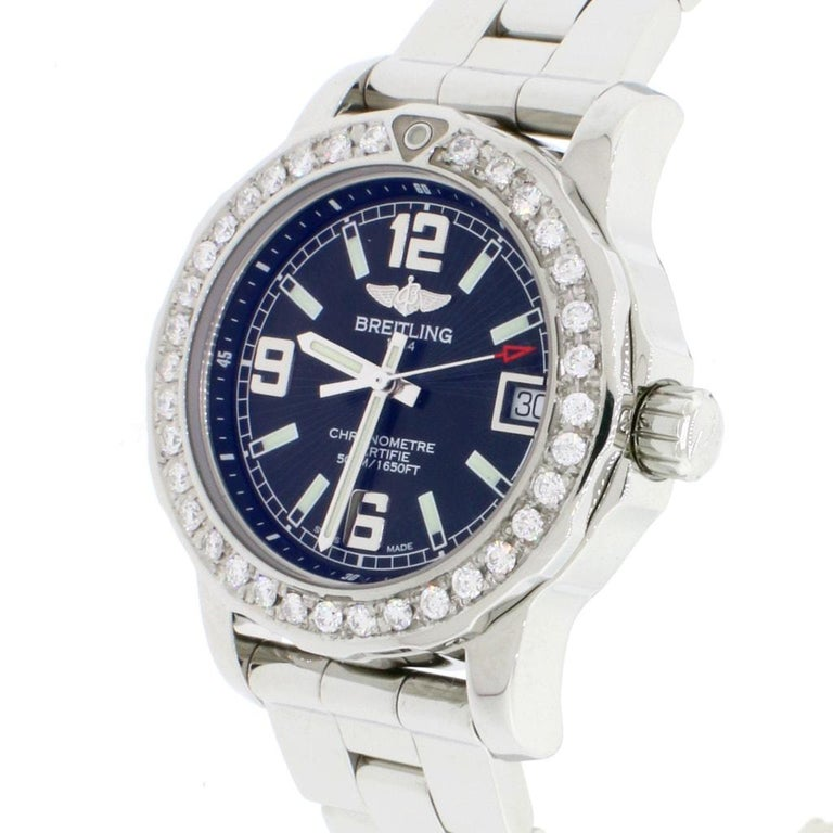 Women's Breitling Colt 33 Factory Black Dial Stainless Steel Ladies Watch A77387 For Sale