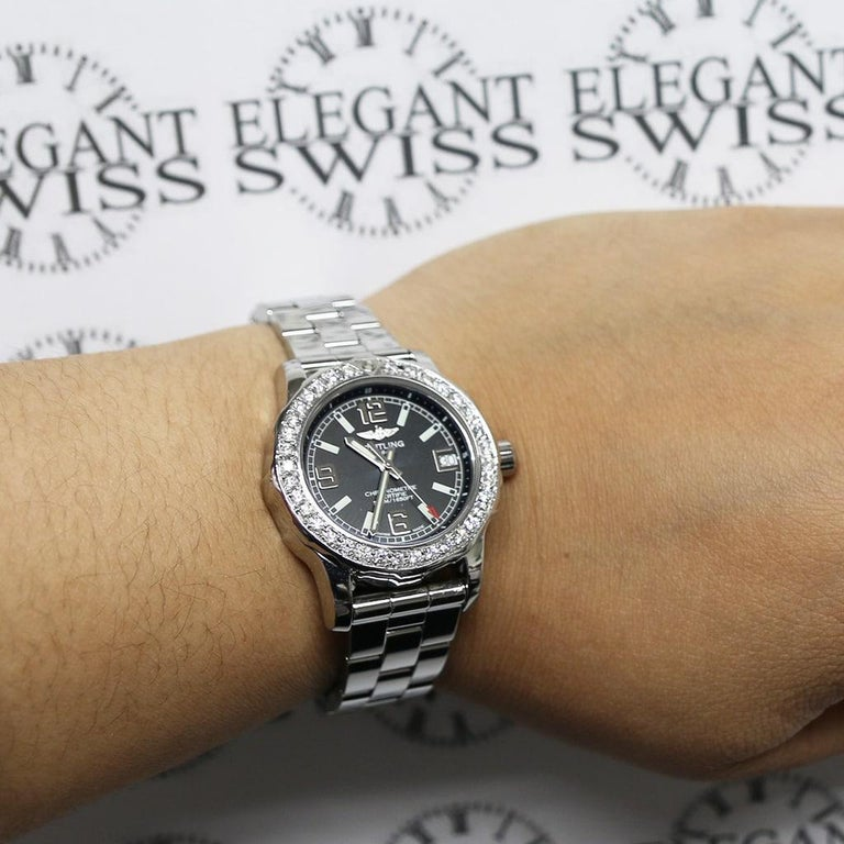 Breitling Colt 33 Factory Black Dial Stainless Steel Ladies Watch A77387 For Sale 1
