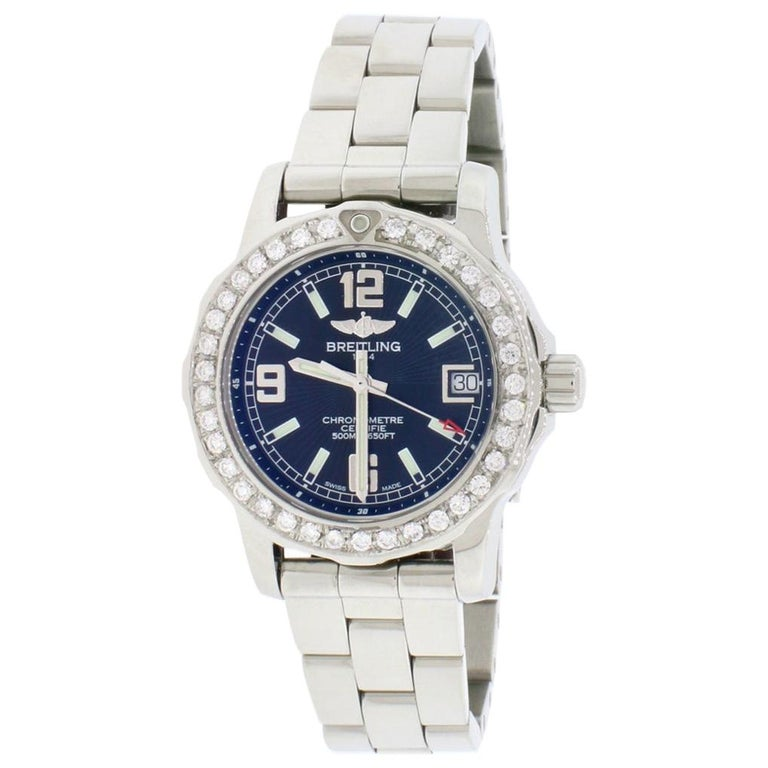 Breitling Colt 33 Factory Black Dial Stainless Steel Ladies Watch A77387 For Sale