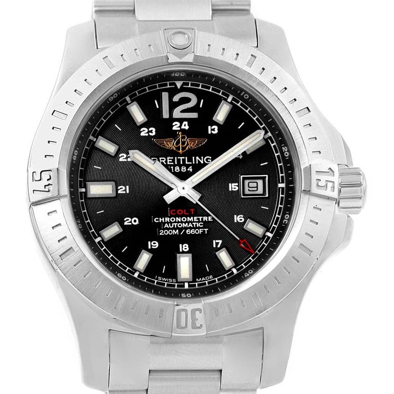f839ff04104 Breitling Colt Black Baton Dial Automatic Steel Men's Watch A17388 For Sale  3