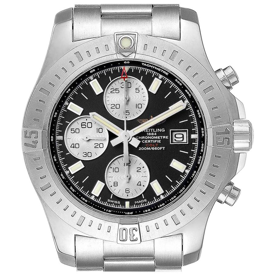 Breitling Colt Black Dial Stainless Steel Men's Watch A13388 Box