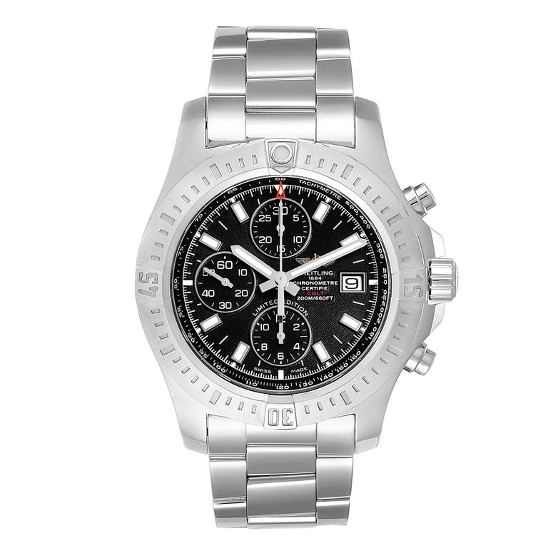 Breitling Colt Black Dial Stainless Steel Mens Watch A13388 Box Papers. Automatic self-winding chronometer movement. Stainless steel case 44 mm in diameter. Breitling logo on a crown. Stainless steel unidirectional rotating bezel. 0-60 elapsed-time.