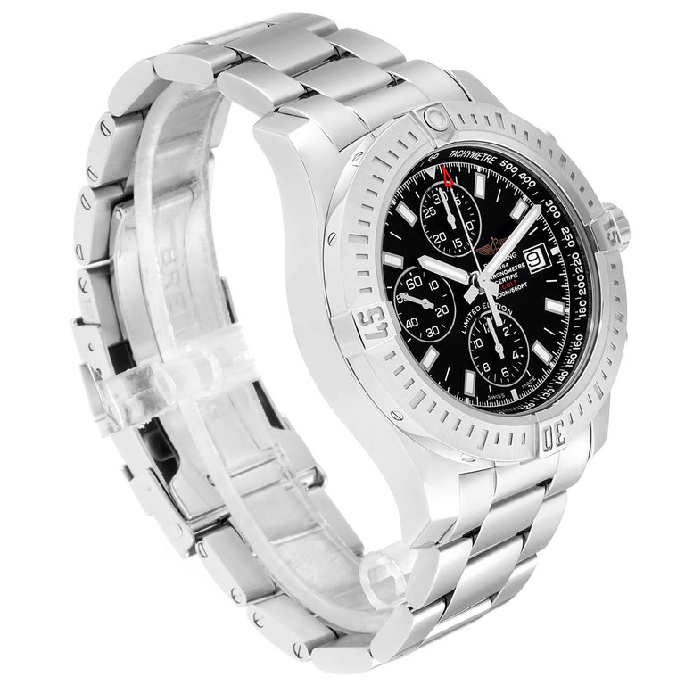 Breitling Colt Black Dial Stainless Steel Men's Watch A13388 Box Papers In Excellent Condition In Atlanta, GA