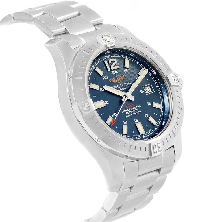 1d3e33c5877 Breitling Colt Blue Baton Dial Automatic Steel Men's Watch A17388 For Sale 5