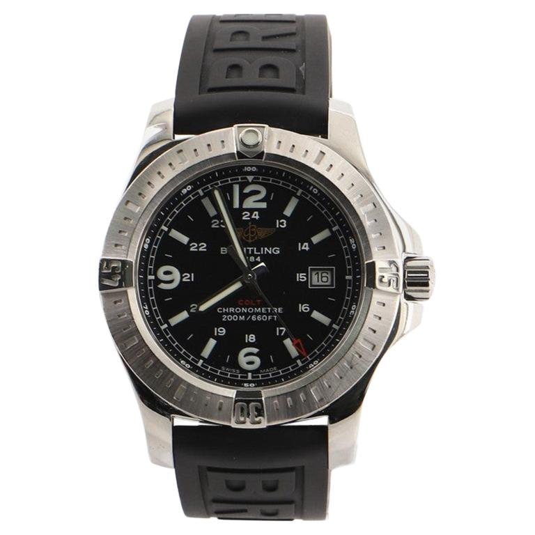 Breitling Colt Chronometer Quartz Watch Stainless Steel and Rubber 44