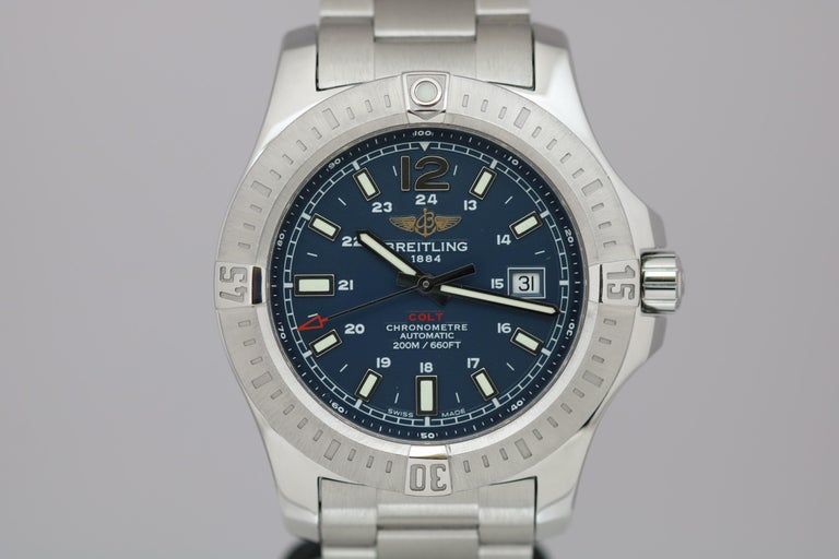 Breitling Model Number: A17388  Model: Colt  Material: Stainless Steel Function: Date, Diver  Dial: Blue  Movement: Automatic  Case Size: 44mm  Condition: Excellent, Some very light wear, Please see pictures  Notes: Does not include box or papers.