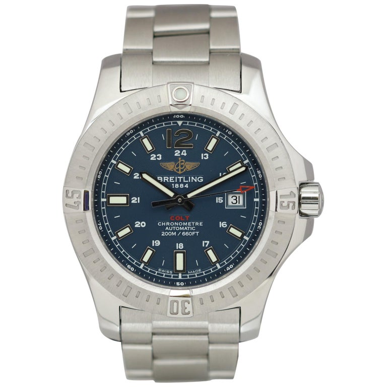 Breitling Colt Stainless Steel Ref A17388 Automatic Wristwatch For Sale