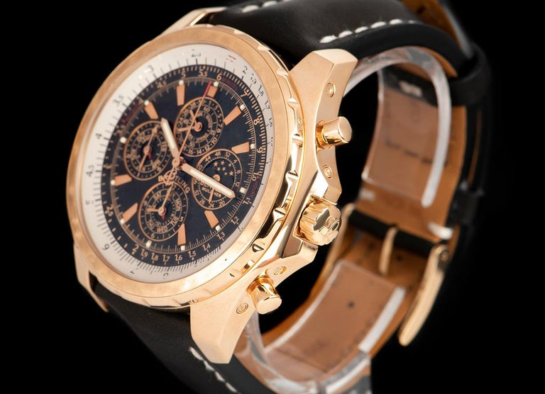 An 18k Rose Gold Breitling For Bentley Mulliner Perpetual Calendar Chronograph Limited Edition Gents 48.7mm Wristwatch H29362, black dial with applied hour markers, moonphase aperture at 3 0'clock, 24 hour indicator, weekday sub-dial and 12 hour