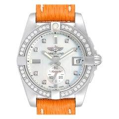 Breitling Galactic 36 Orange Strap MOP Steel Diamond Ladies Watch A37330