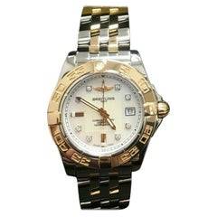 Breitling Galactic C71356 MOP Diamond Dial 18K Rose Gold & Steel Box & Papers