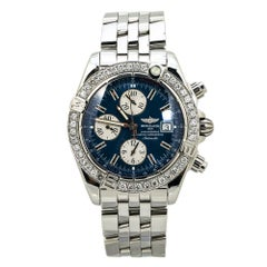 Breitling Galactic Chronograph II A13364 Blue Dial Watch Diamond Bezel