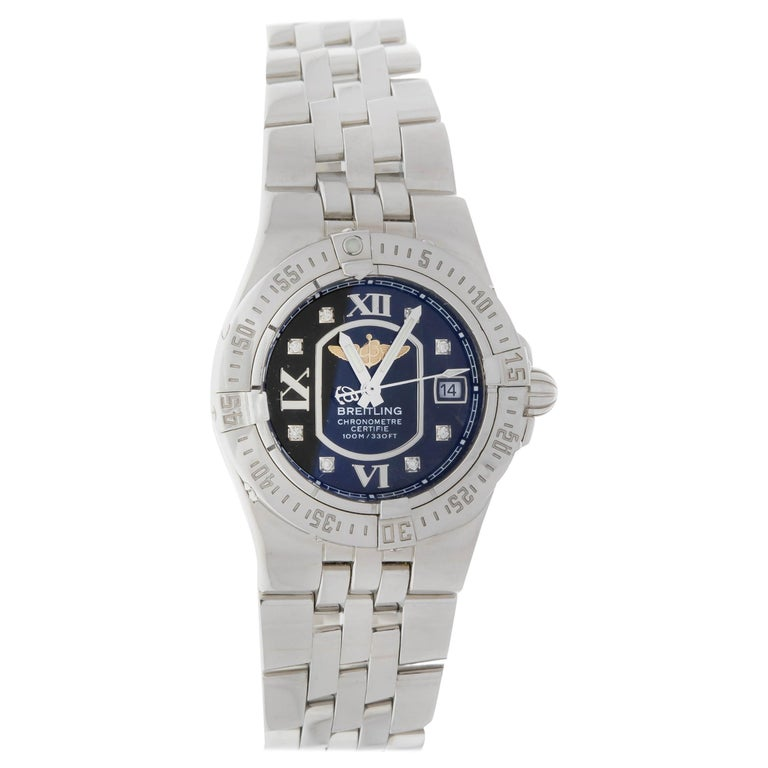 Breitling Ladies Starliner Stainless Steel with Black Diamond Dial For Sale