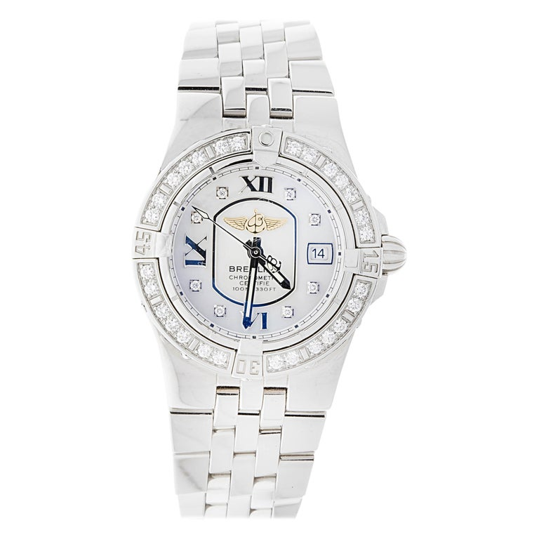 Breitling Ladies Starliner Stainless Steel with Mother of Pearl and Diamonds For Sale