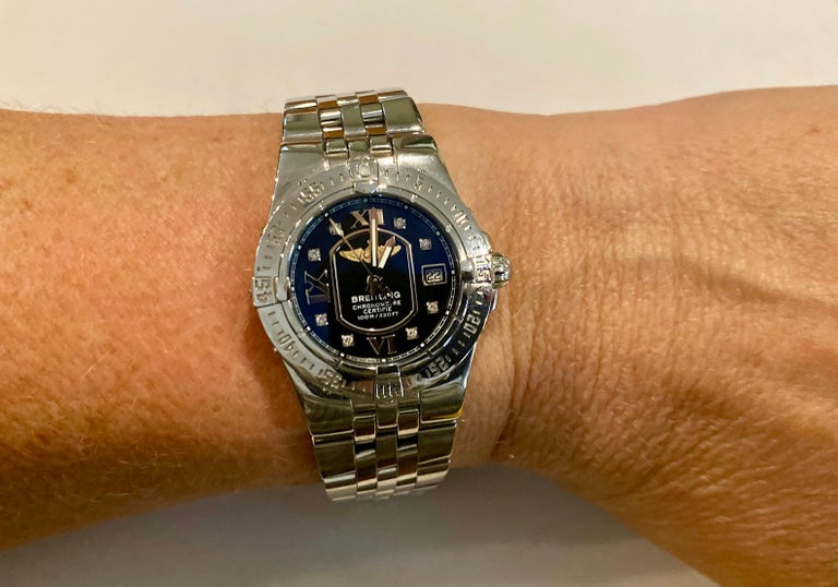 Women's Breitling Ladies Starliner Stainless Steel with Black Diamond Dial For Sale