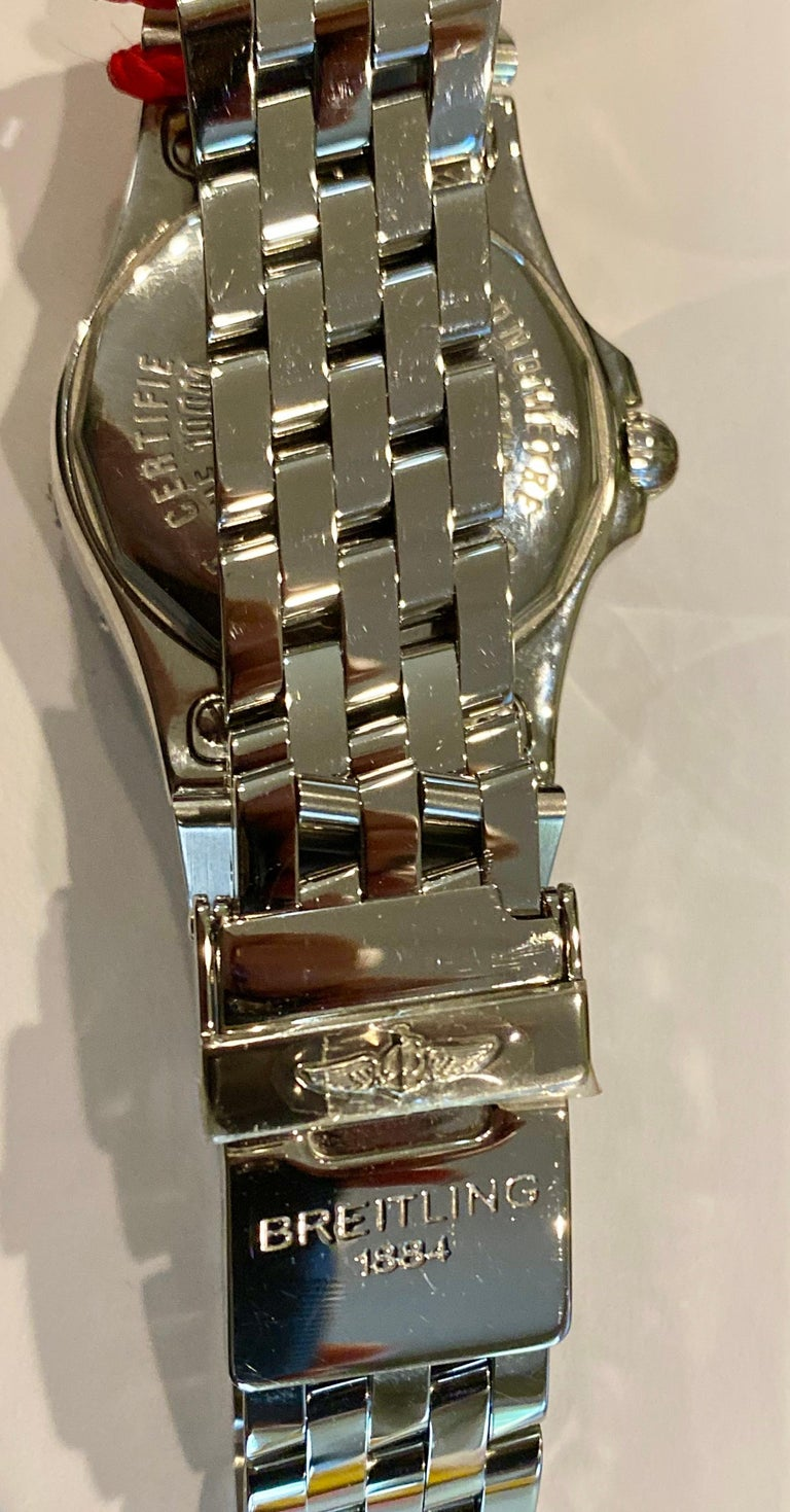 Breitling Ladies Starliner Stainless Steel with Mother of Pearl and Diamonds In New Condition For Sale In Spartanburg, SC