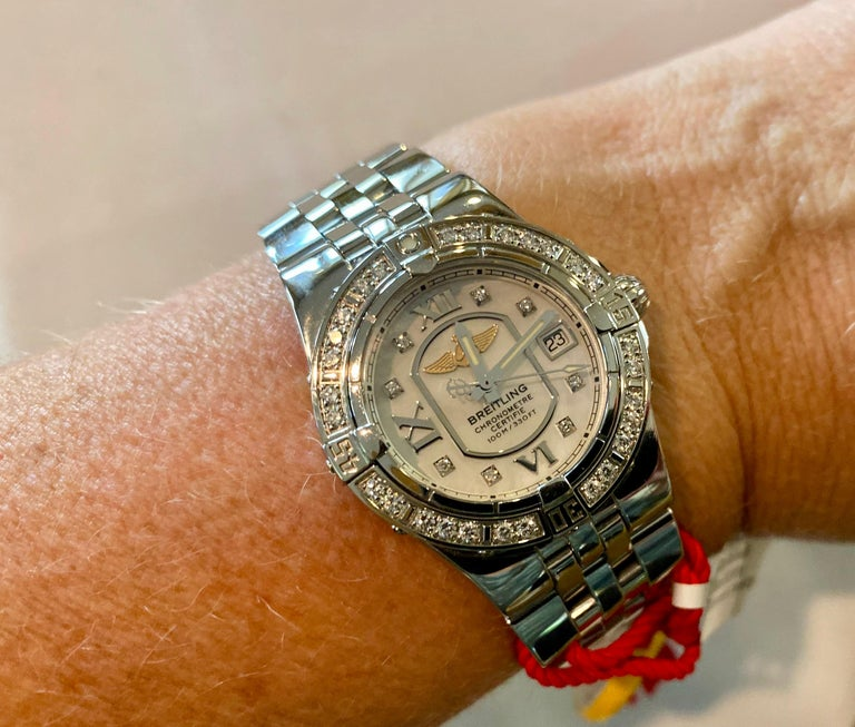 Women's or Men's Breitling Ladies Starliner Stainless Steel with Mother of Pearl and Diamonds For Sale