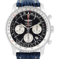 Breitling Navitimer 01 Black Dial Blue Strap Limited Edition Watch AB0121