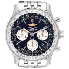 Breitling Navitimer 01 Black Dial Steel Men's Watch AB0121 Box Card