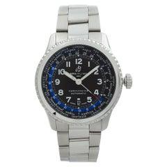 Breitling Navitimer 8 Unitime Steel Black Dial Men's Watch AB3521U41/B1A1-188A